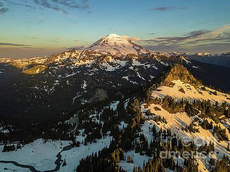 Mount Raineir and Yakima Peak Sunrise Light by Mike Reid