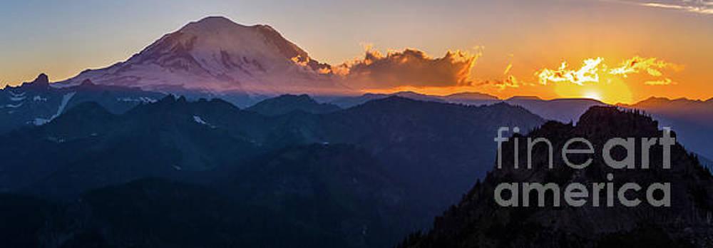 Mount Rainier Aerial Sunset Panorama Above Chinook Pass by Mike Reid