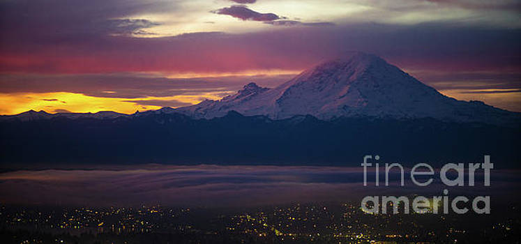 Mount Rainier Dark Sunrise by Mike Reid
