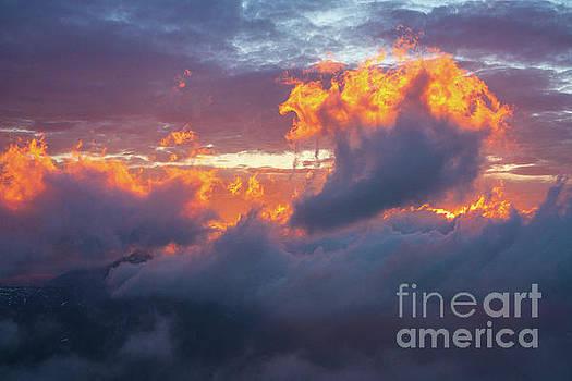 Mount Rainier Fiery Sunset Clouds by Mike Reid