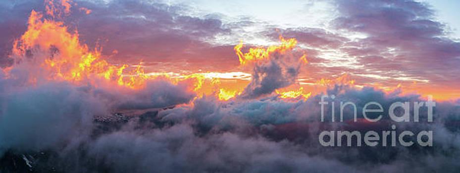 Mount Rainier Fiery Sunset Clouds Motion by Mike Reid