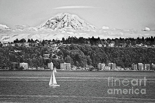 Mount Rainier from Puget Sound B W by Catherine Sherman