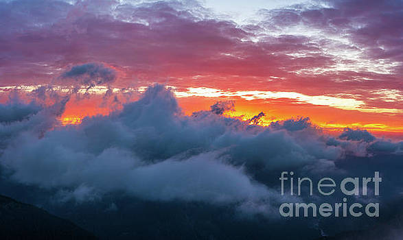 Mount Rainier National Park Above the Clouds at Sunset by Mike Reid