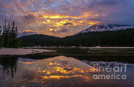Mount Rainier National Park Reflection Lake Fiery Skies by Mike Reid