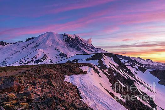 Mount Rainier National Park Second Burroughs Sunset Landscape by Mike Reid