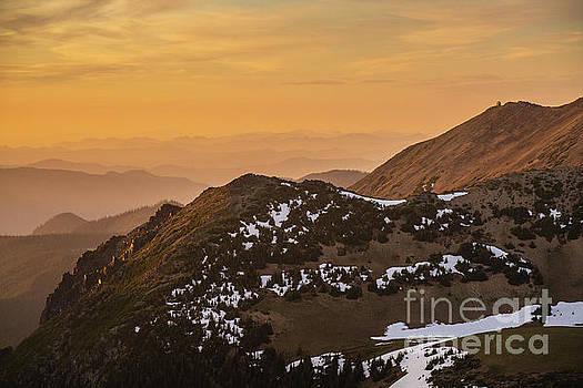 Mount Rainier National Park Sunset Layers Past Fremont Lookout by Mike Reid