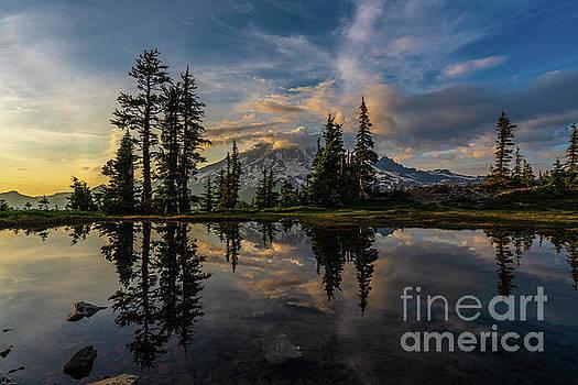 Mount Rainier Photography Dramatic Cloudscape Tarn by Mike Reid