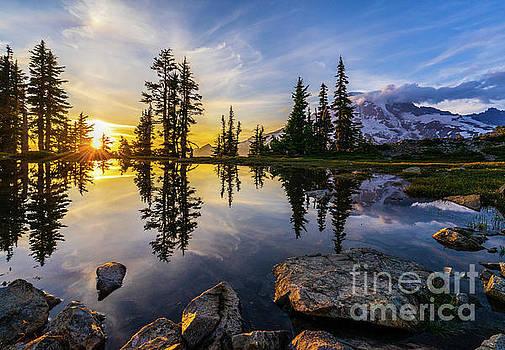 Mount Rainier Photography Golden Light Tarn by Mike Reid