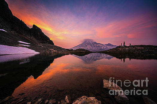 Mount Rainier Photography Sunset Tarn Reflection by Mike Reid