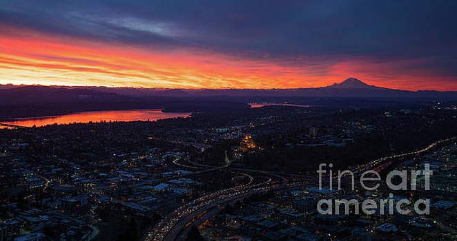 Mount Rainier Sunrise From The Columbia Center by Mike Reid