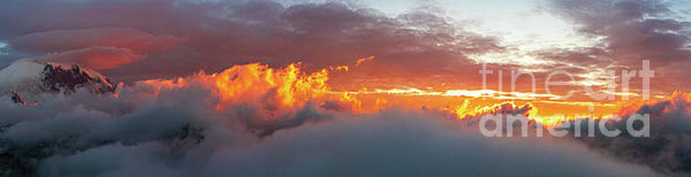Mount Rainier Sunset Clouds On Fire Panorama by Mike Reid