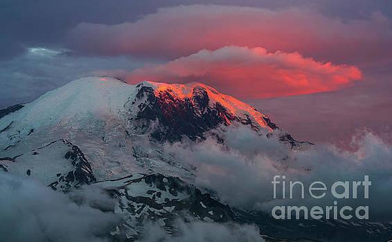 Mount Rainier Sunset Lenticular Fire by Mike Reid