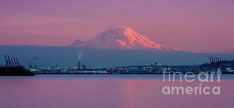 Mount Rainier Sunset Reflection by Mike Reid