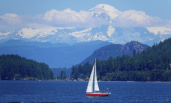 Mountain Behind Sailboat by Rick Lawler