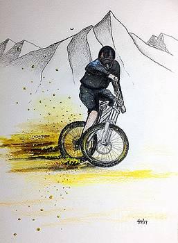 Mountain Biking Down Hill MTB by Gordon Lavender