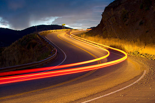 Mountain drive at night by James O Thompson