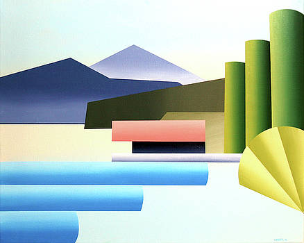 Mountain Lake Dock Abstract Acrylic Painting by Mark Webster