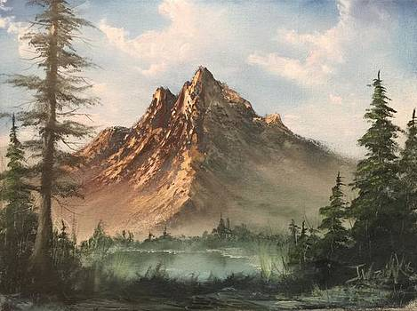 Mountain lake  by Paintings by Justin Wozniak