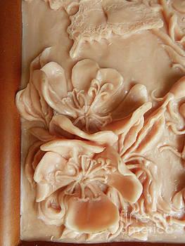 Mountain Meadow original clay - primrose detail by Dawn Senior-Trask
