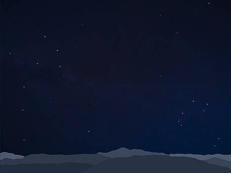 Stan  Magnan - Mountain Range with Stars
