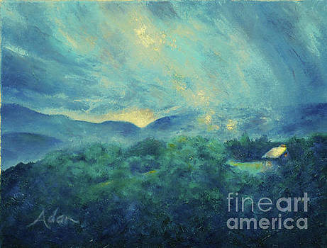 Felipe Adan Lerma - Mountain Road Cabin and Sunrise Stowe Vermont Painting