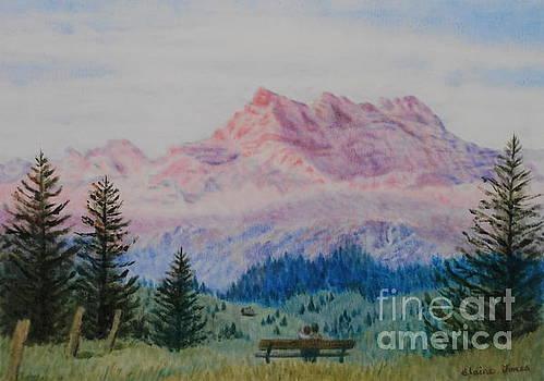 Mountain Sunset Dents du Midi by Elaine Jones