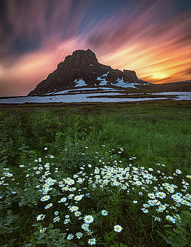 Mountain with wildflowers and sunset clouds by William Freebilly photography
