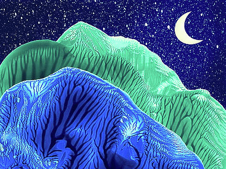 Mountains Moon Starry Night Abstract Landscape by Amy Vangsgard