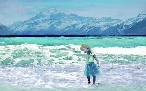 Mountains Ocean With Little Girl  by Susanna Katherine