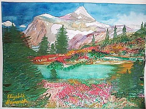 Mountains with Lake by Elizabeth A Gawronski