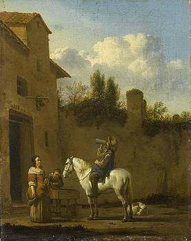 Mounted Trumpeter taking a Drink by Karel Dujardin