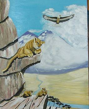 Mountian Lion and cubs by Robert E Gebler