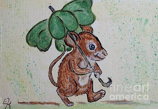 Mouse with Four Leaf Clover Umbrella painting #893 by Ella Kaye Dickey