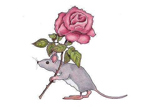 Mouse with Pink Rose by Joyce Geleynse