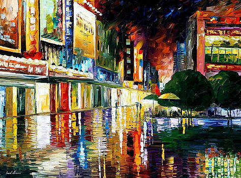 Movie Theatre - PALETTE KNIFE Oil Painting On Canvas By Leonid Afremov by Leonid Afremov