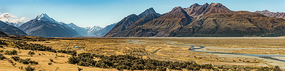 Mt Cook and Tasman River  by Gary Eason