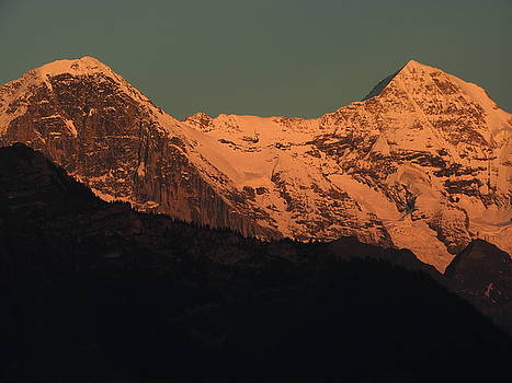 Mt. Eiger and Mt. Moench at Sunset by Ernst Dittmar