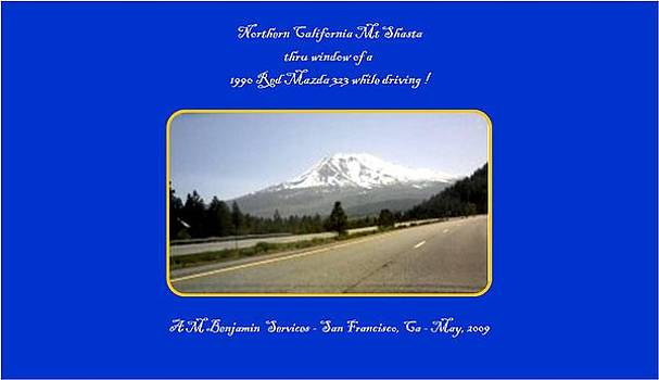 Mt Shasta thru a car window while driving by Anthony Benjamin