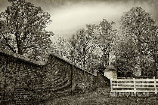 Mt. Vernon Garden Wall Black and White by Karen Adams