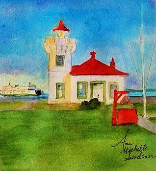 Mukilteo Lighthouse as the Sunsets by Ann Michelle Swadener