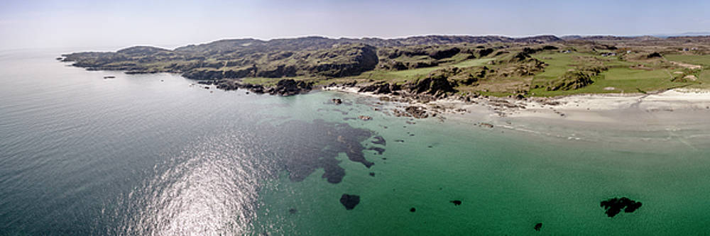 Mull beach panorama from a low altitude. by Russell Millner