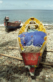 Multi-colored Wooden Rowboat by Richard Nickson