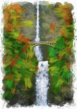 Multnomah Falls Oregon Digital Paint by Ricky Barnard
