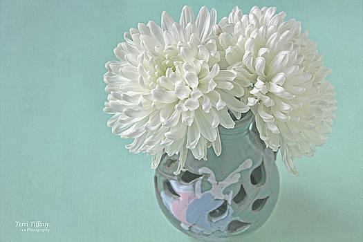 Mum in Blue Vase by Terri Tiffany