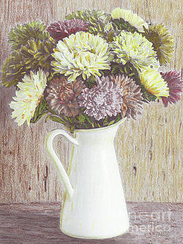 Mums in an Antique Pitcher by J Marielle