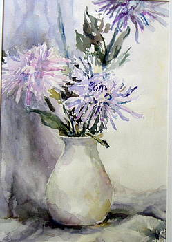 Mums in White Pitcher by Dorothy Herron
