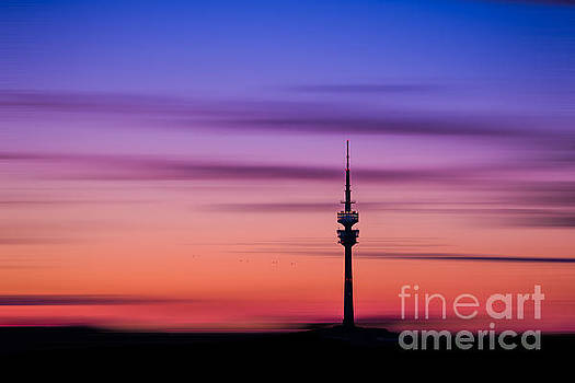 Munich - Olympiaturm at sunset by Hannes Cmarits