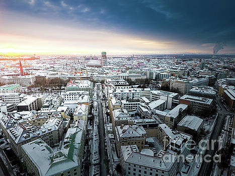 Munich - Sunrise at a winter day by Hannes Cmarits
