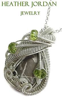 Muonionalusta Meteorite Slice Necklace in Tarnish-Resistant Sterling Silver with Peridot by Heather Jordan
