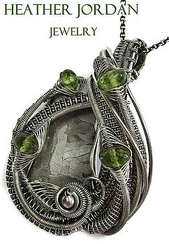 Muonionalusta Meteorite Slice Wire-Wrapped Pendant in Antiqued Sterling Silver with Peridot by Heather Jordan